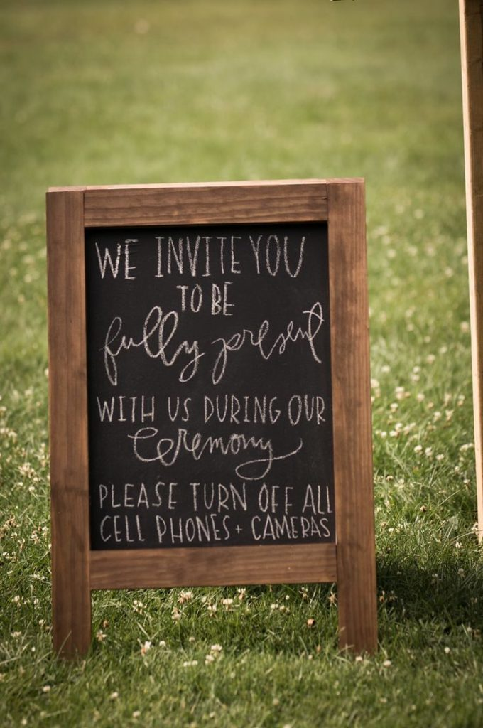 Unplugged wedding Sign Idea