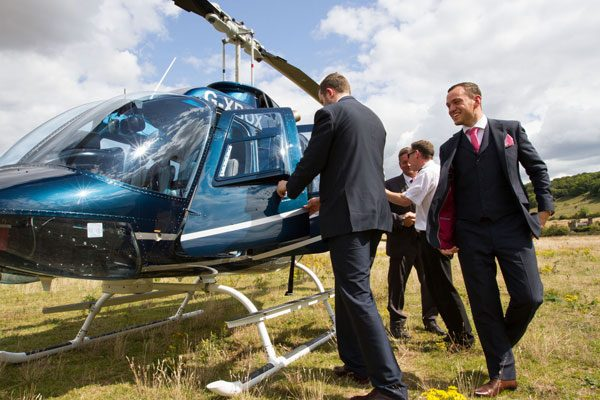 Groom arrives in a helicopter for Wedding