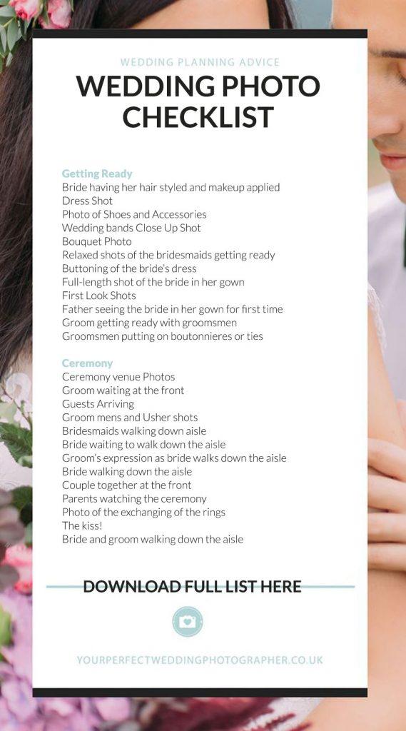 Must Have Wedding Photo Ideas Checklist