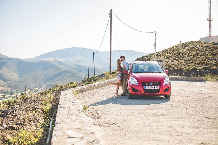 astypalea-hills-engagement-red-car