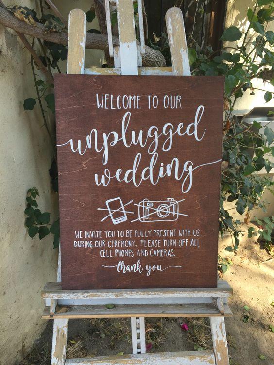 etsy unplugged wedding sign