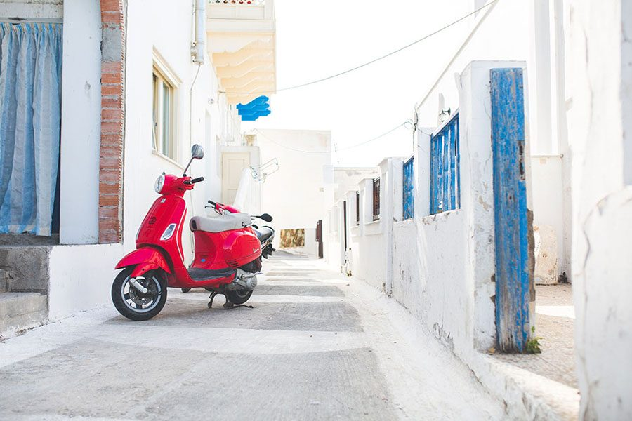red-moped-astypalea-streets-greece