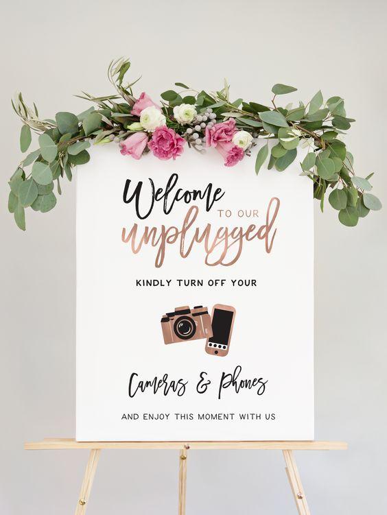 stylish unplugged wedding sign