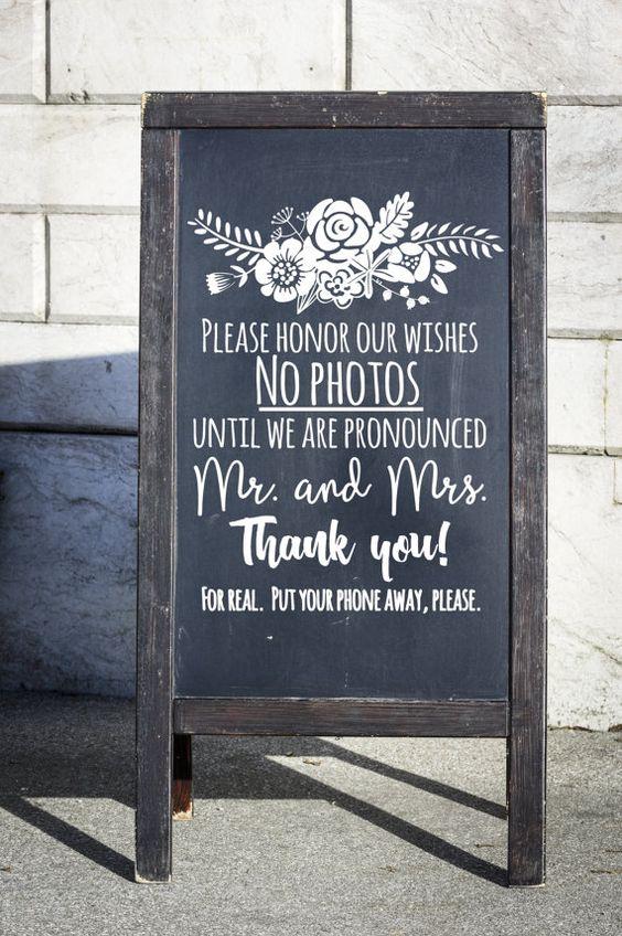 unplugged wedding chalk sign