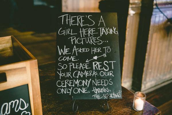 unplugged wedding notice