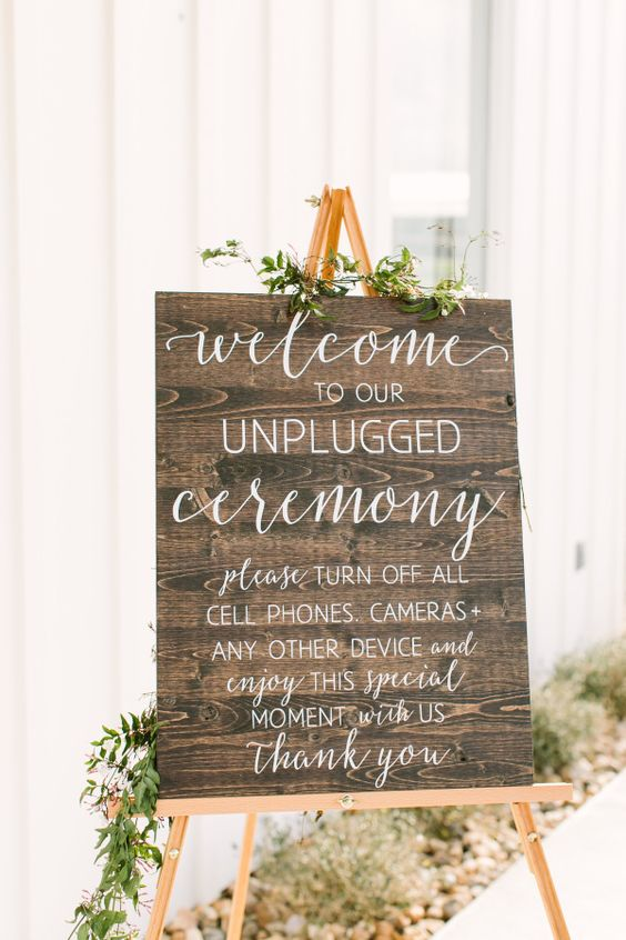 unplugged wedding sign for phones