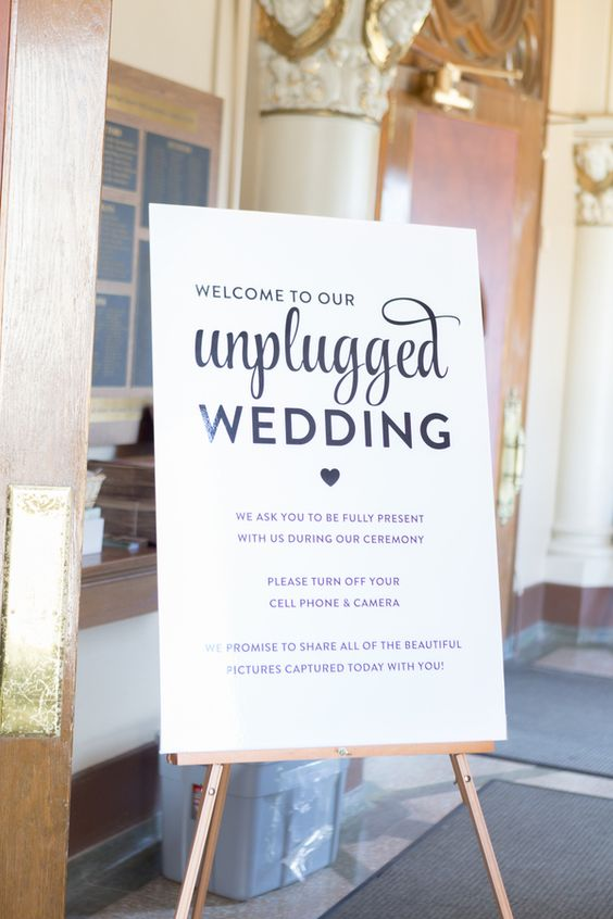 unplugged wedding sign stand