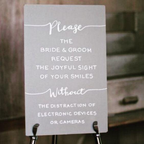 wedding unplugged sign
